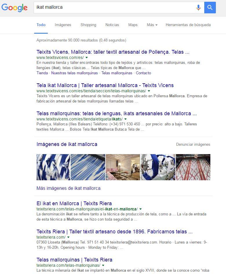 Teixits Vicens posicionamiento google